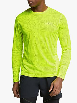 Ronhill Momentum Afterlight Long Sleeve Running Top, Fluo Yellow