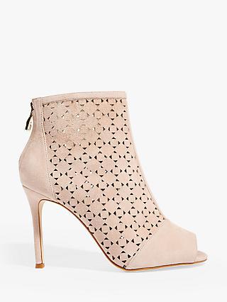 c9715d164ce Karen Millen Perforated Suede Heeled Boots