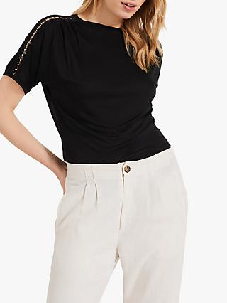 Phase Eight Electra Eyelet Top, Black