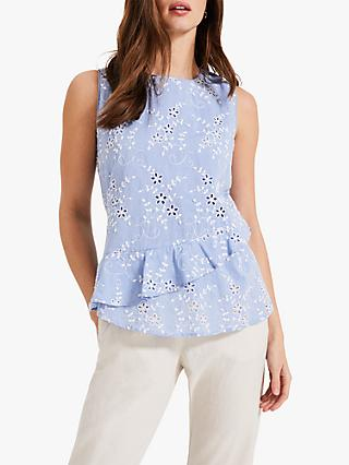 Phase Eight Eleanor Embroidered Cotton Blouse, Sky Blue