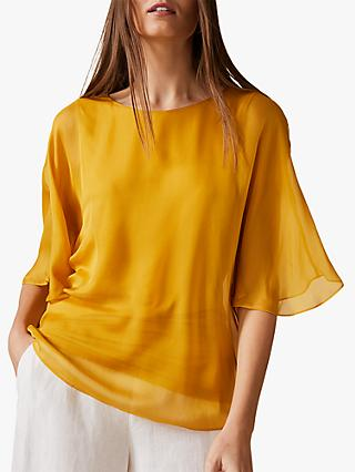 Phase Eight Ann Angel Silk Blouse, Ochre