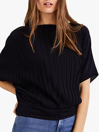 Phase Eight Pacey Pleat Textured Top, Navy