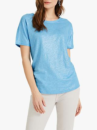 Phase Eight Lara Linen Shimmer Top, Blue