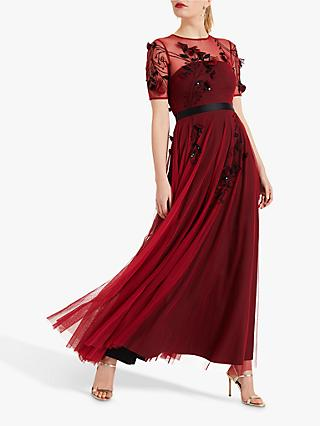 Phase Eight Collection 8 Anna Embroidered Maxi Dress Brick Red Black