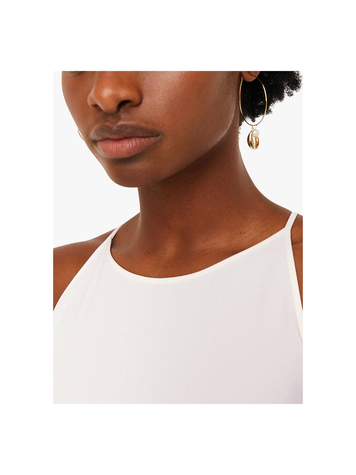 Buy Warehouse High Neck Cami Top, Cream, 6 Online at johnlewis.com