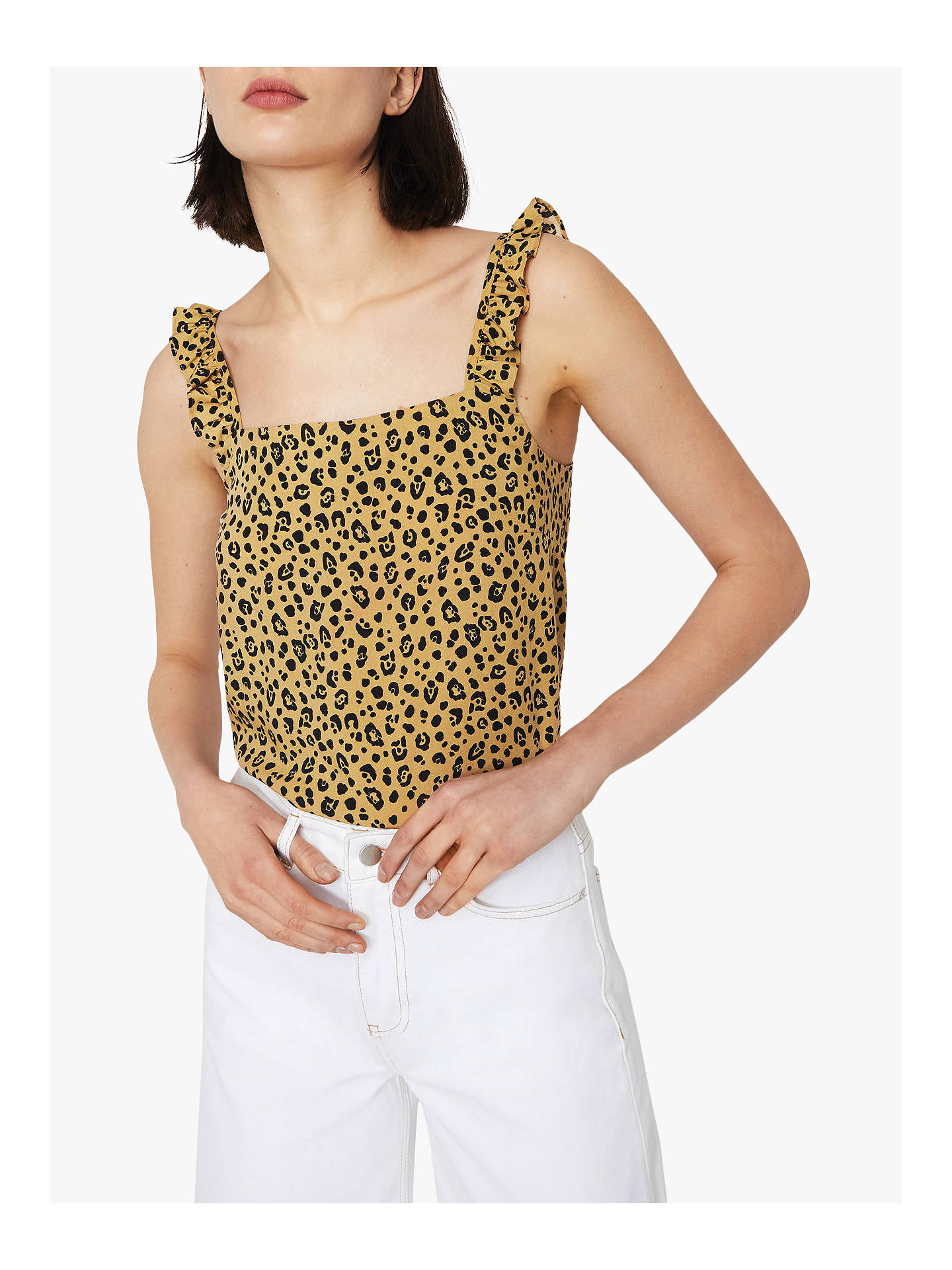 4080e0ae51b28a Buy Warehouse Leopard Print Frill Cami Top, Neutral, 8 Online at  johnlewis.com ...