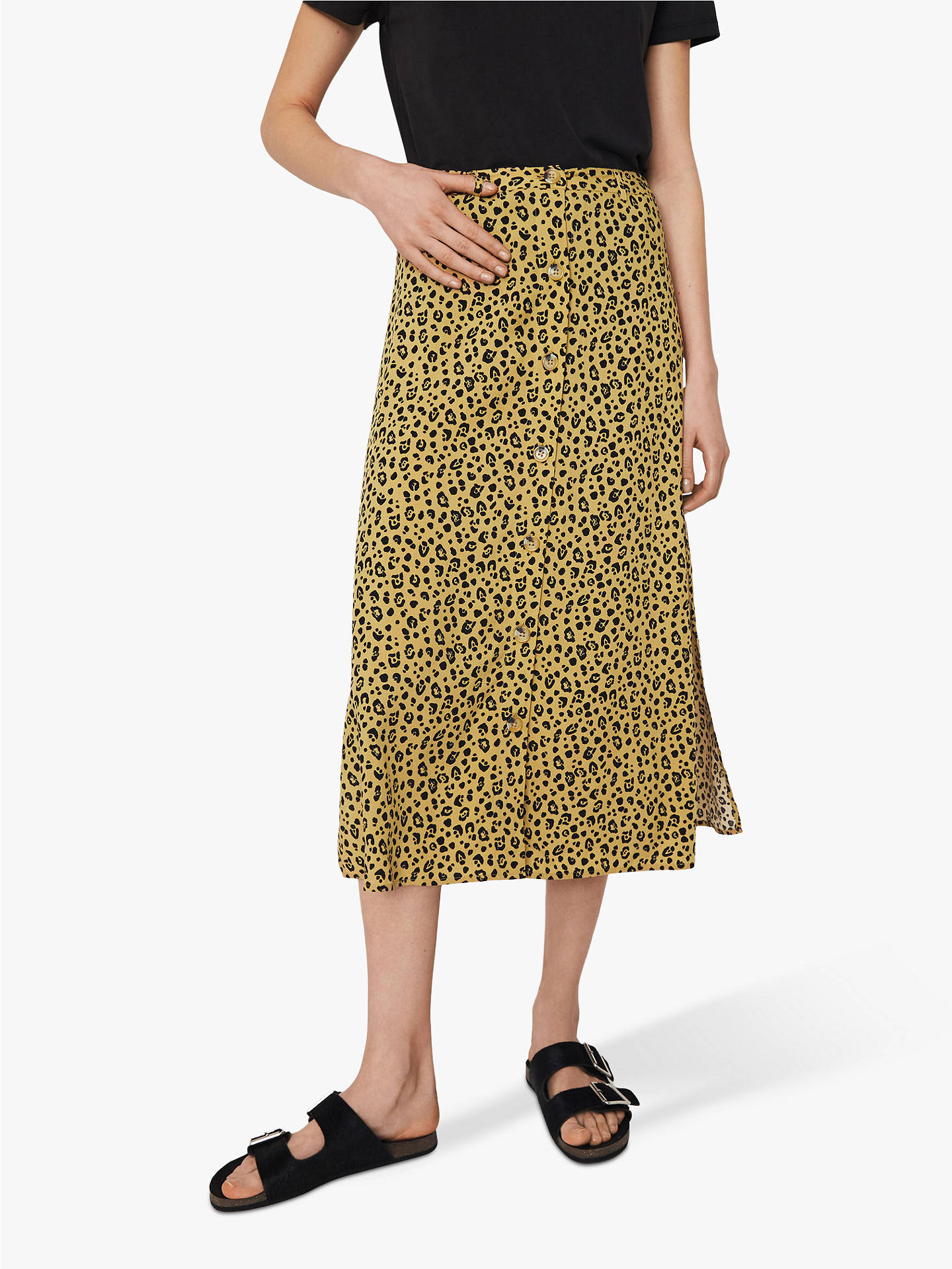 c66d5782cfd4 Buy Warehouse Leopard Print Skirt, Neutral, 12 Online at johnlewis.com ...