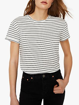 $15. Isabella Oliver Striped T-shirt Gray/white Sz 2 High-low Hem