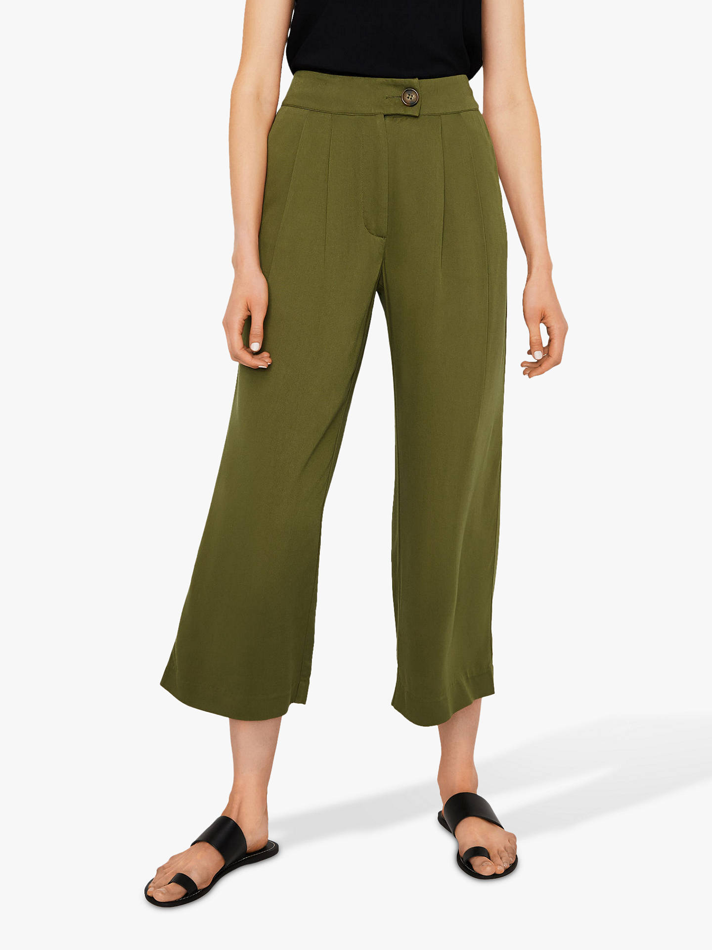 314e97321002 Buy Warehouse Cropped Trousers, Khaki, 12 Online at johnlewis.com ...