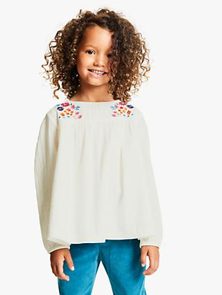 John Lewis & Partners Girls' Floral Embroidered Woven Top, Natural