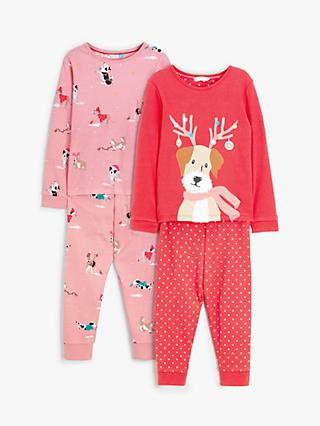 John Lewis & Partners Girls' Festive Dogs Pyjamas, Pack of 2, Red