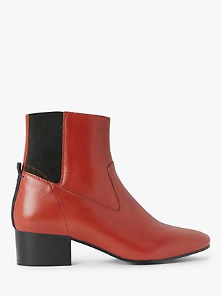 Kin Peaches Leather Ankle Boots, Orange