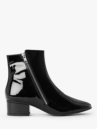 Kin Pepper Patent Leather Ankle Boots, Black