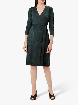 Hobbs Delilah Wrap Snakeskin Print Dress, Khaki Black