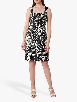 Hobbs Harley Linen Dress, Black/White
