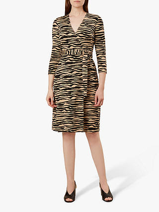 Buy Hobbs Delilah Wrap Tiger Print Dress, Camel Black, 16 Online at johnlewis.com