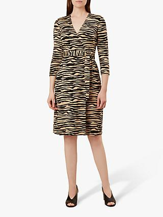 Hobbs Delilah Wrap Tiger Print Dress, Camel Black