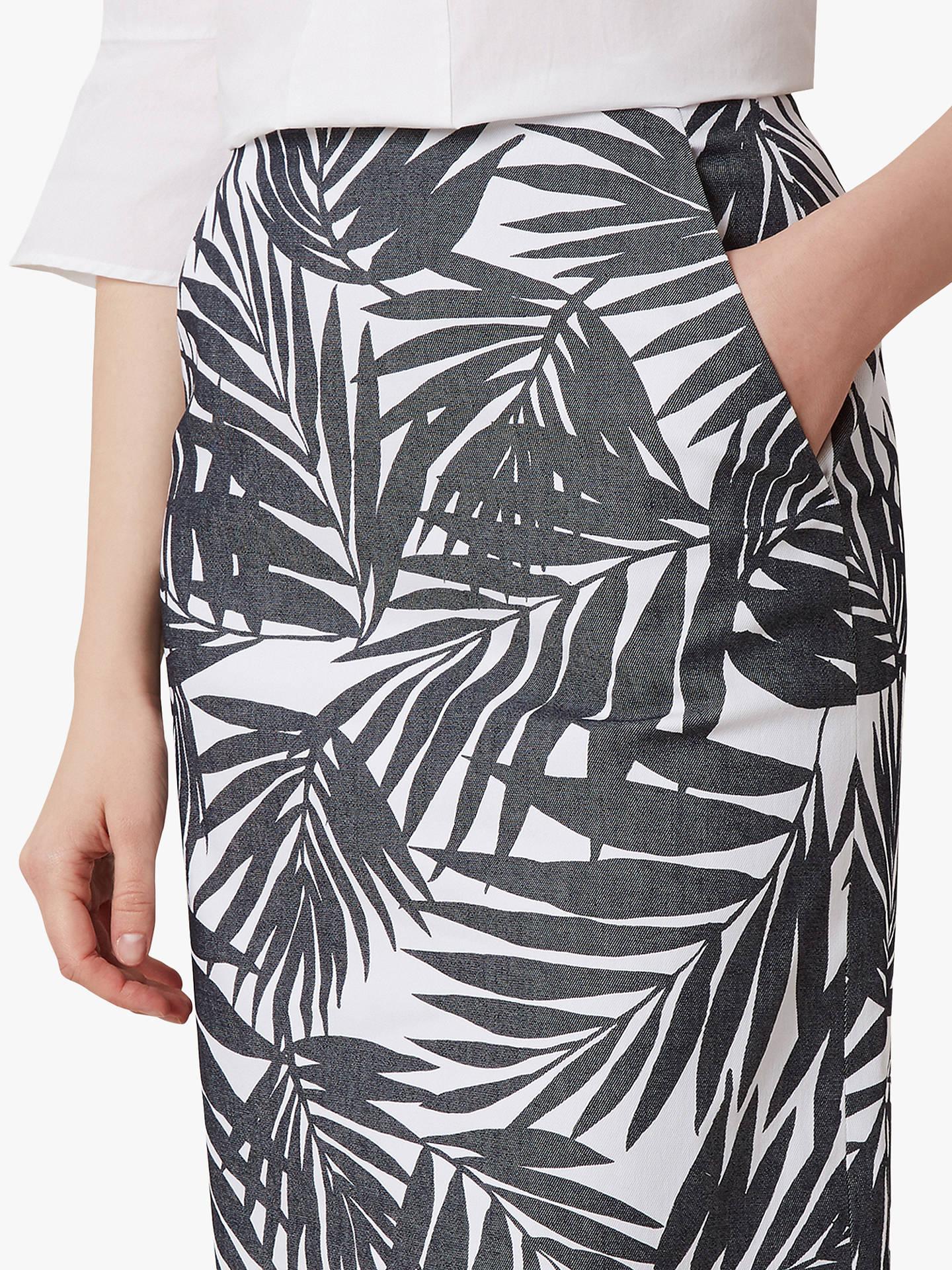 4828efc1ad Buy Hobbs Loretta Leaf Print Skirt, Navy/White, 6 Online at johnlewis.