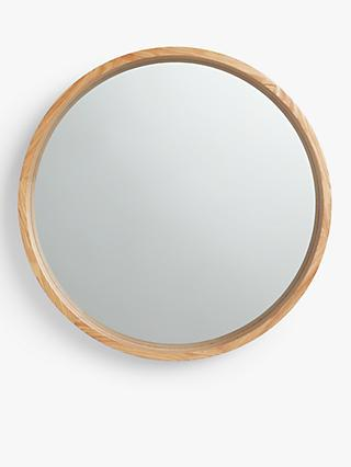 John Lewis & Partners Scandi Round Oak Mirror, Natural
