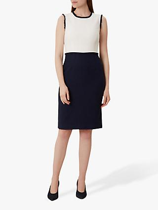 Hobbs Alice Tweed Dress, Navy/Ivory