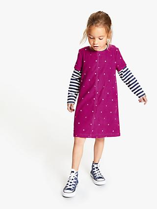 John Lewis & Partners Girls' Corduroy Pinafore and T-Shirt Set, Berry