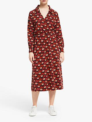 People Tree V&A Daisy Midi Dress, Red