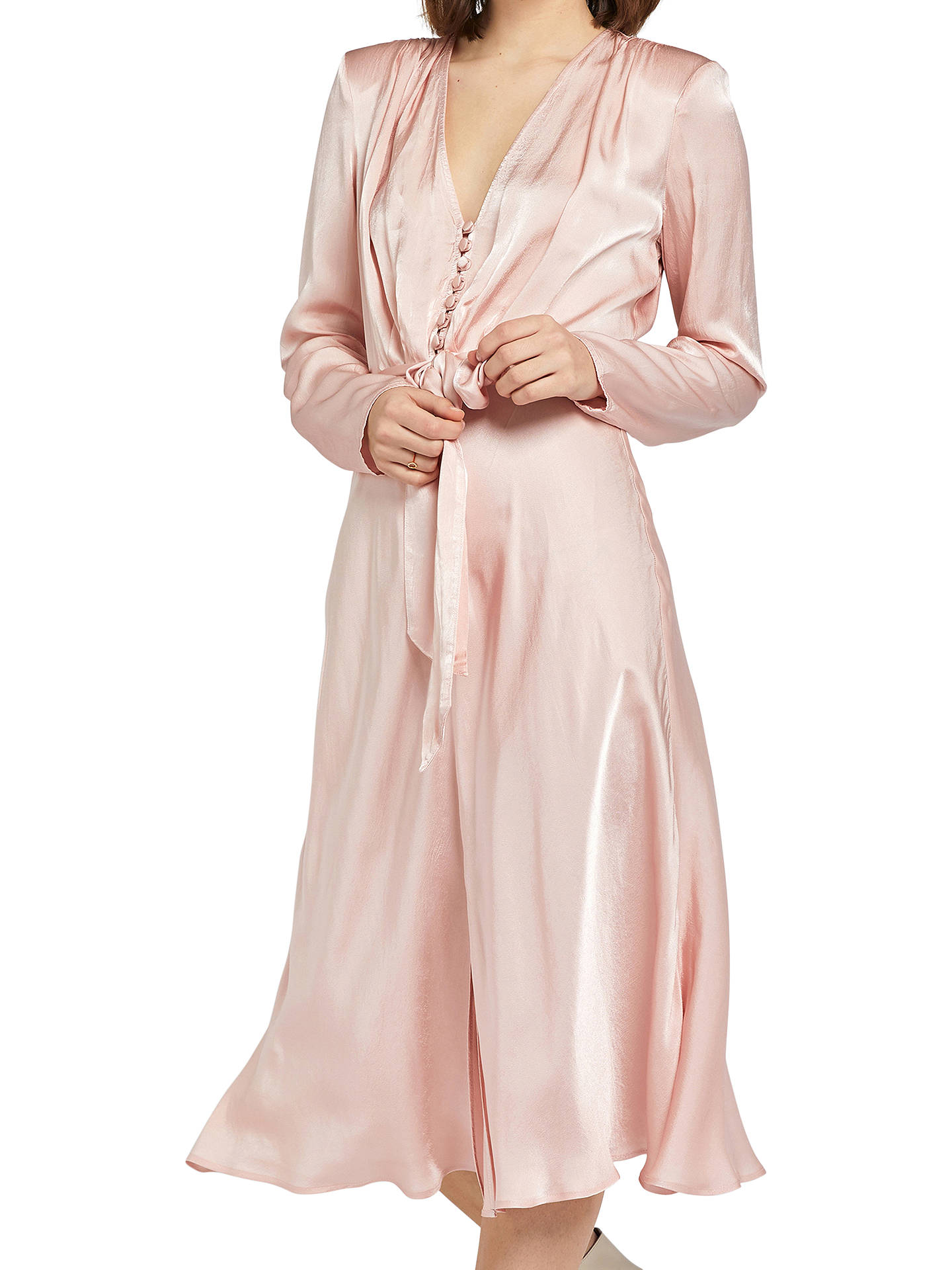Buy Ghost Meryl Wrap Tie V-Neck Dress, Pastel Pink, XS Online at johnlewis.com