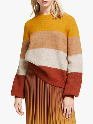 Second Female Maville Colour Block Crew Neck Jumper, Inca Gold