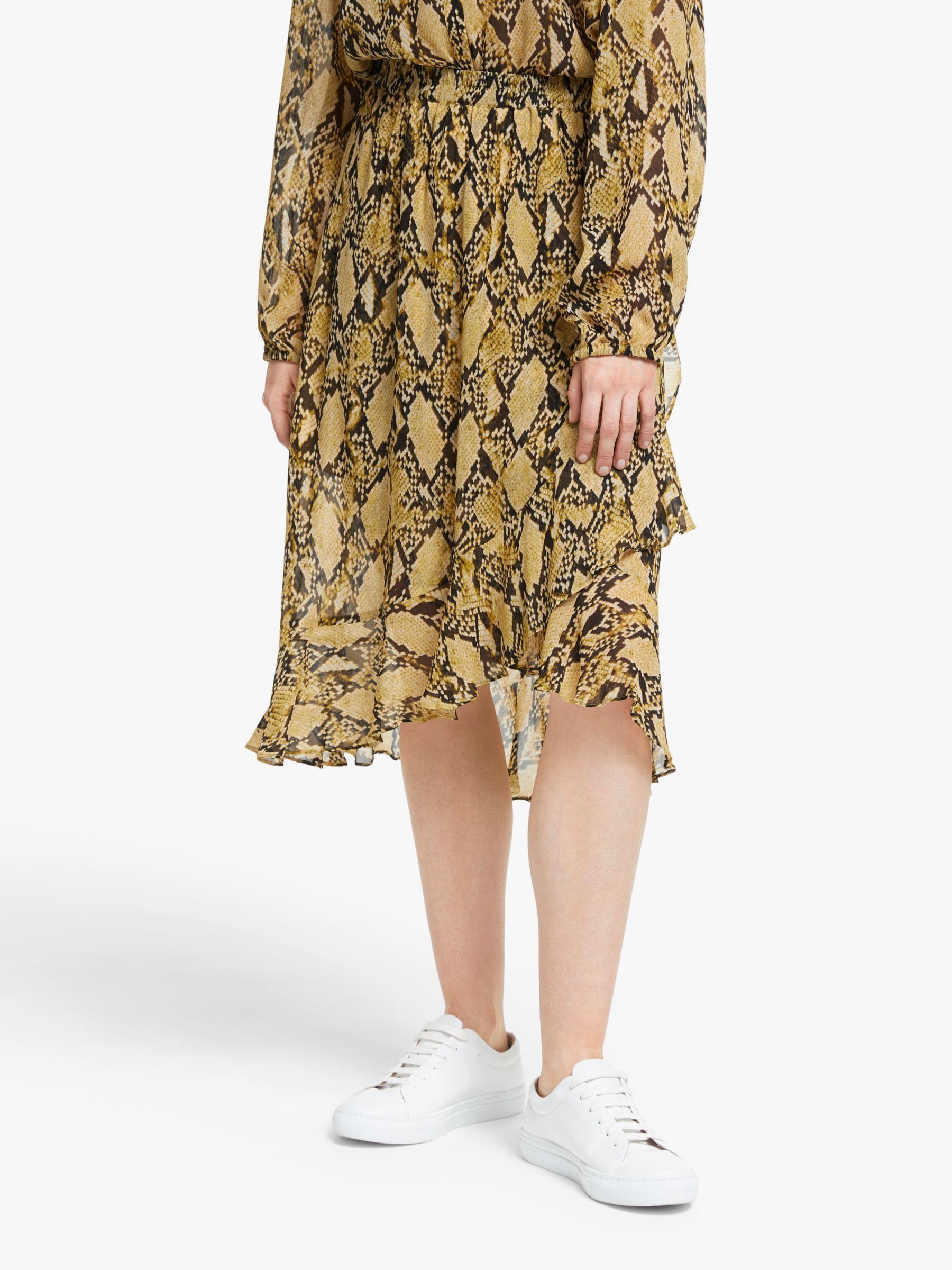 Second Female Second Female Snake Print Ruffle Midi Skirt, Chai Tea