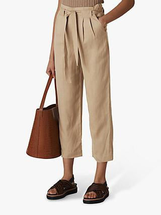 Whistles Belted Wide Leg Trousers, Neutral