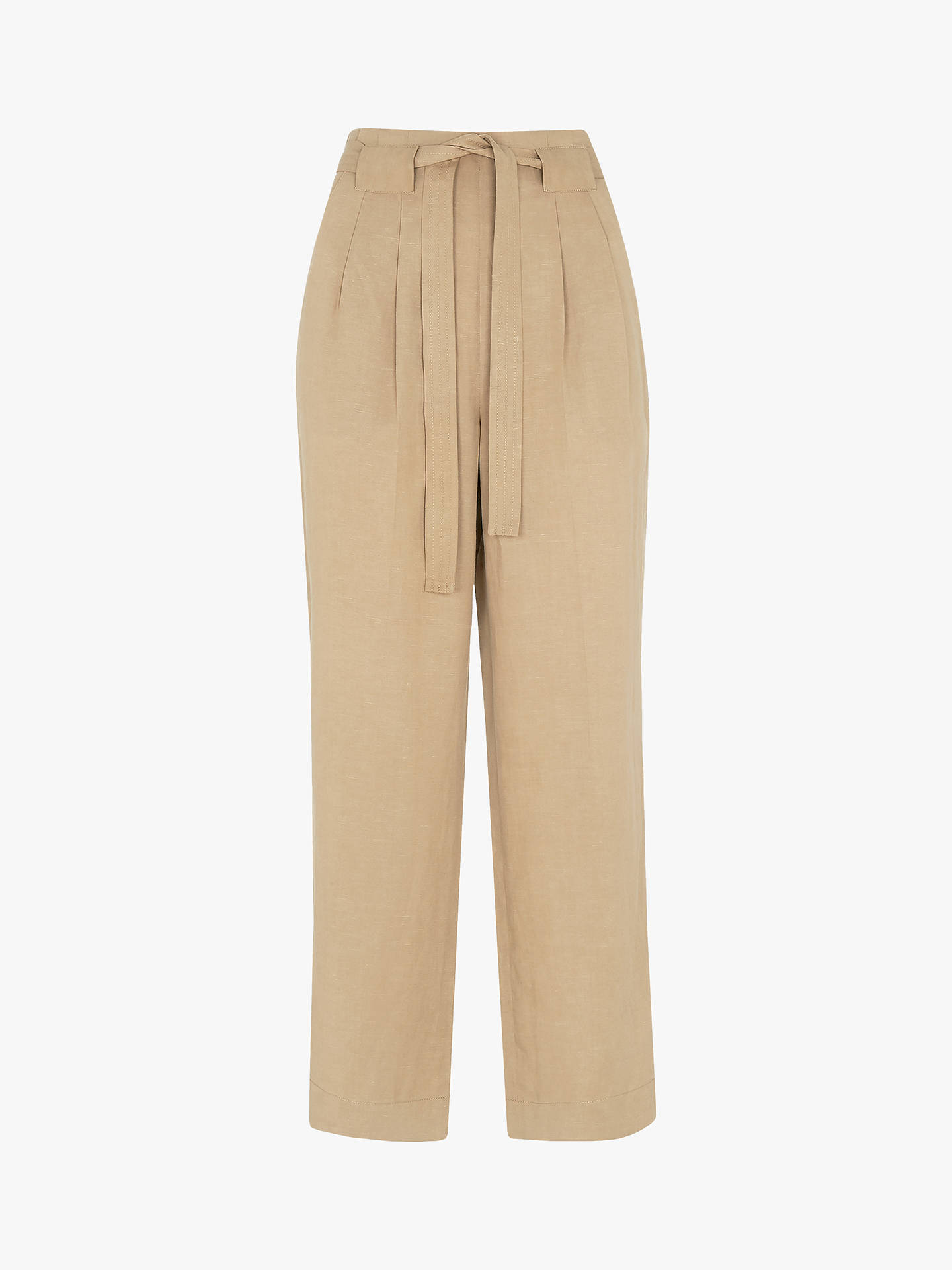 Buy Whistles Belted Wide Leg Trousers, Neutral, 12 Online at johnlewis.com