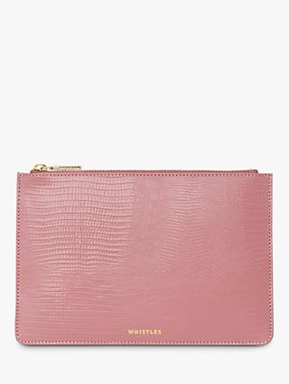 Whistles Shiny Lizard Leather Small Clutch Bag
