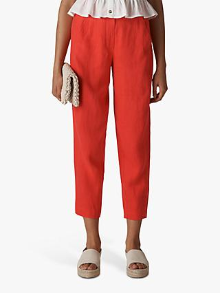 Whistles Barrel Leg Linen Trousers, Red