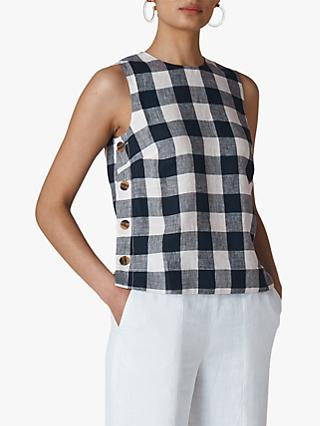 Whistles Gingham Check Linen Shell Top, Navy/Multi