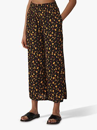 Whistles Aster Floral Print Wide Leg Trousers, Black/Multi