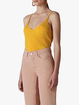Whistles Ribbed Knit Linen Cotton Cami, Yellow