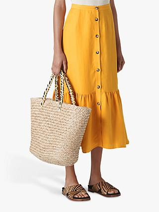 Whistles Linen Button Through Skirt, Yellow