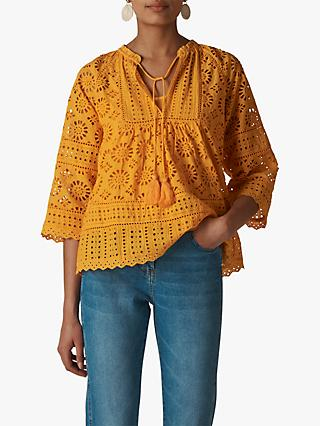 Whistles Maggie Broderie Blouse, Yellow