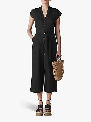 Whistles Sana Linen Button Jumpsuit, Black