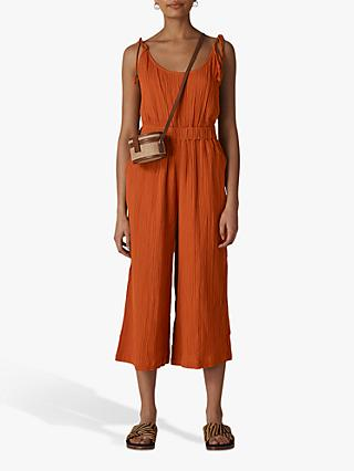 Whistles Mila Textured Cotton Jumpsuit, Rust