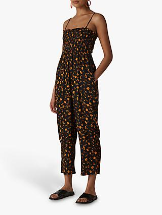 Whistles Aster Floral Texture Jumpsuit, Black