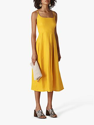 Whistles Duffy Linen Strappy Dress, Yellow