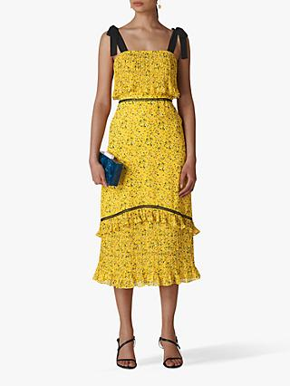 Whistles Ditsy Blossom Pleated Dress, Yellow