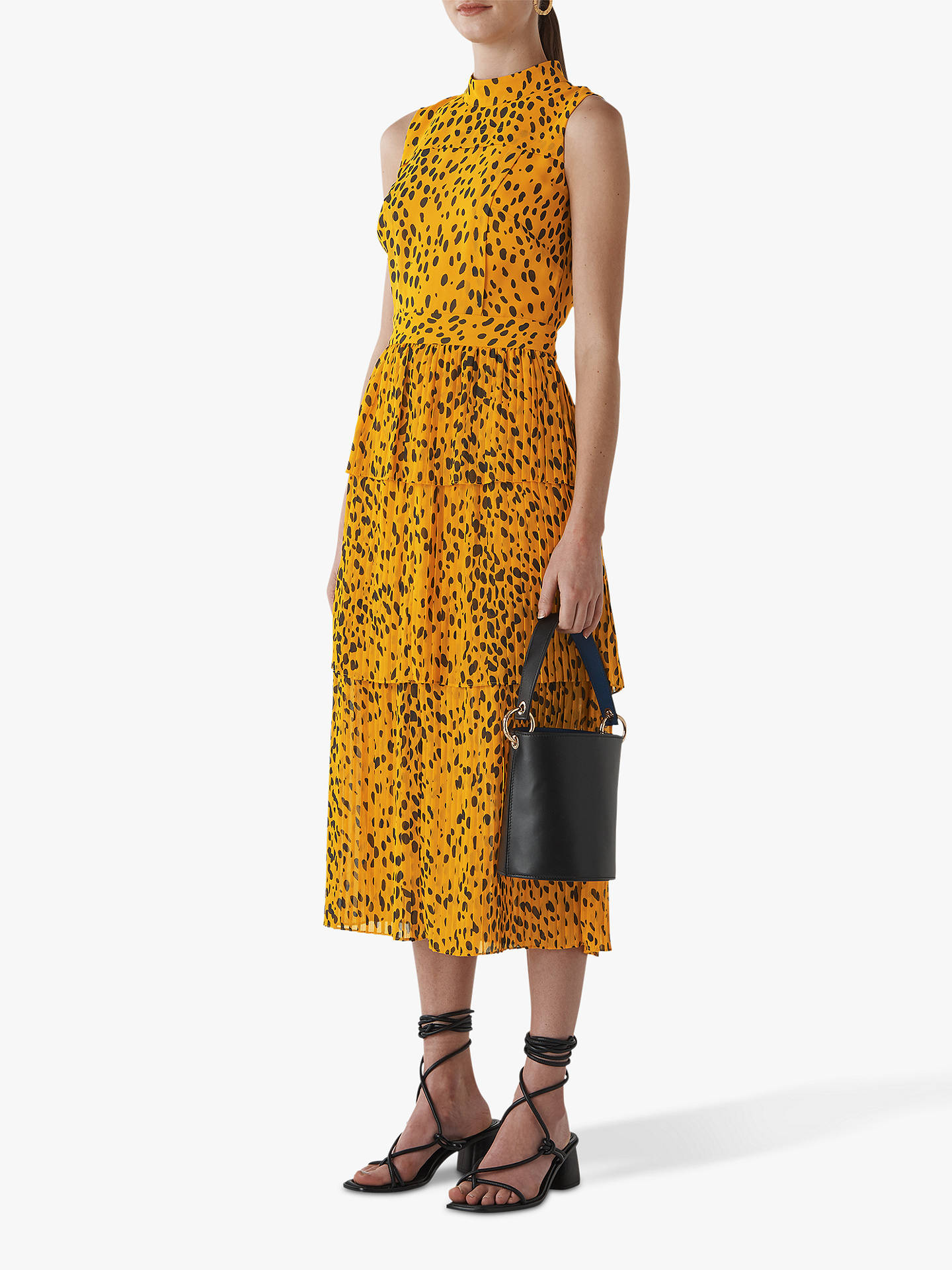 Buy Whistles Animal Print Tiered Dress, Yellow/Multi, 6 Online at johnlewis.com