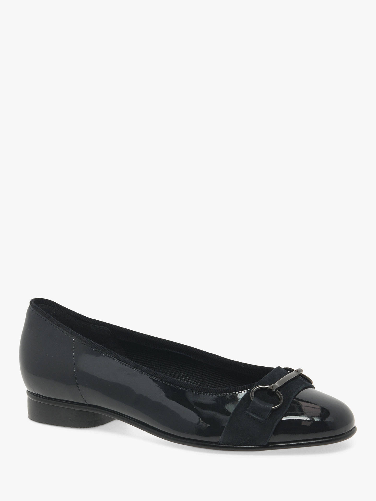 Buy Gabor Ample Leather Ballet Pumps, Pacific Blue, 3 Online at johnlewis.com