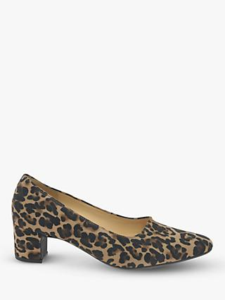 Gabor Eileen Leather Leopard Print Court Shoes, Brown