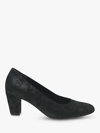 Gabor Ruthin Wide Fit Block Heel Court Shoes, Black