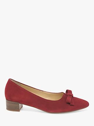 Gabor Kerry Suede Bow Block Heeled Court Shoes