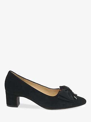 Gabor Enid Suede Bow Detail Low Heeled Court Shoes, Black