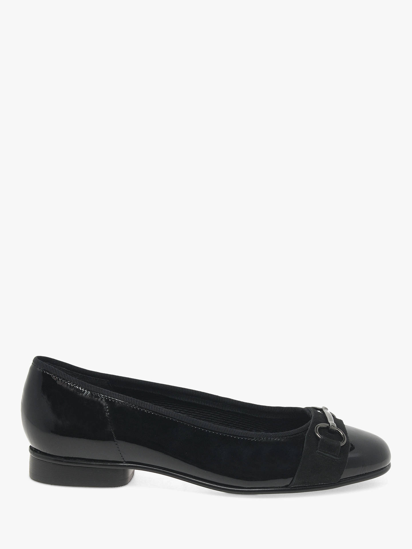 Buy Gabor Ample Leather Ballet Pumps, Black, 3 Online at johnlewis.com